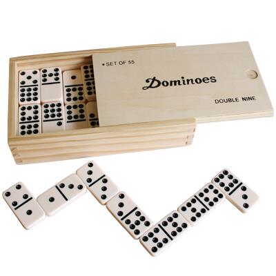 木箱入プラスチック製ドミノ W9 白黒