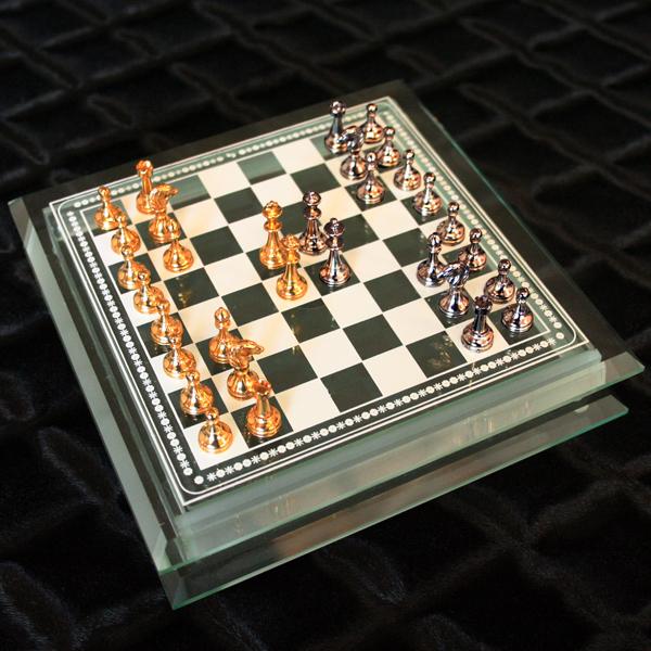 チェスセット1787金属製チェス駒+ガラスチェスボードボックス